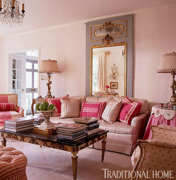 Ooo, a pink living room! It's too formal for my taste but ...