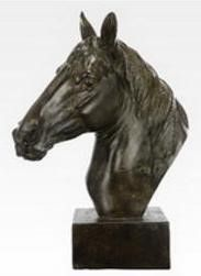 Horse Head Sculpture on Base A classic polyresin horse head sculpture on a base. A beautiful classic horse head sculpture on a base; versaltile use to accent a book shelf, fire mantle, desk or den décor.  This item could also substitute as an award at an equestrian or corporate event.  A name plaque could easily be placed on the base for a personal touch!  Brown  Size:13 x 6 x 16″