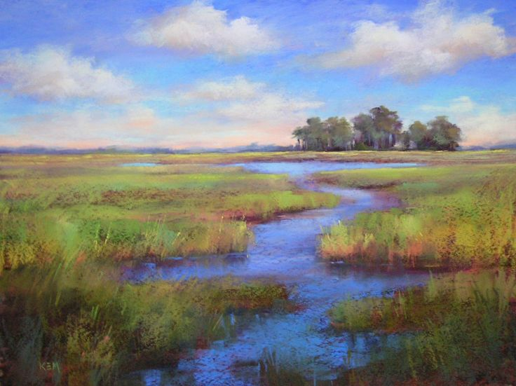 paintings of marshes | it s a beautiful day 18 24 pastel