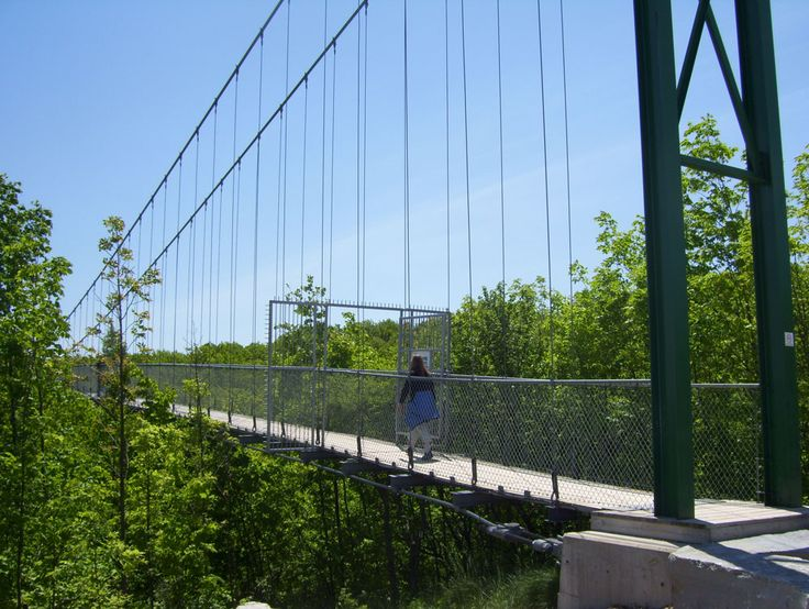 Dare to cross Southern Ontario's longest iconic Suspension Bridge with spectacular views of the south Georgian Bay region, near Collingwood, Blue Mountain