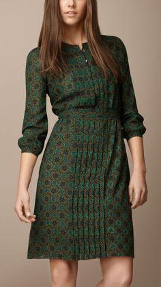 Pleat Detail Floral Print Dress   Burberry