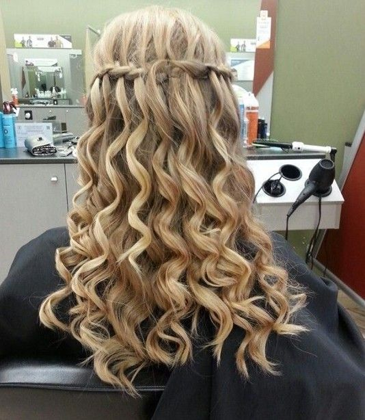 Prom Long Hairstyles 2014: Waterfall braid with spiral curls