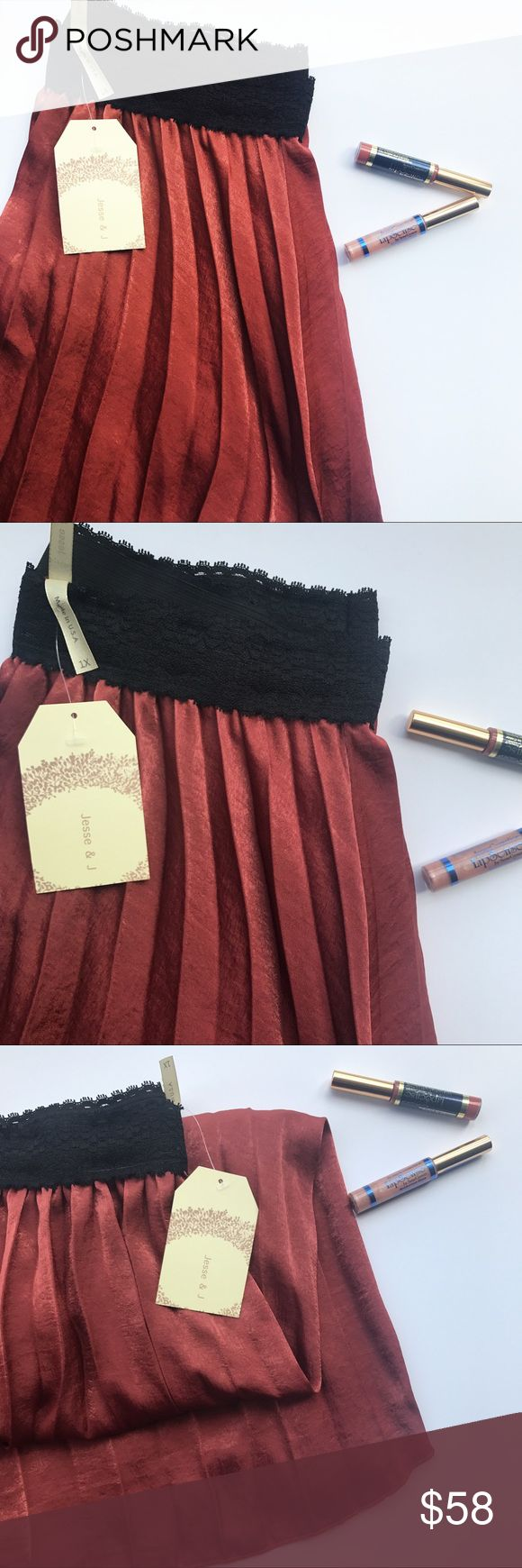 Sleek Rusty Orange Maxi Skirt STUNNING skirt • Soft Pleats • Silky smooth material • hits under the knee when worn as high waisted • Open to Reasonable offers • True to size Skirts Maxi