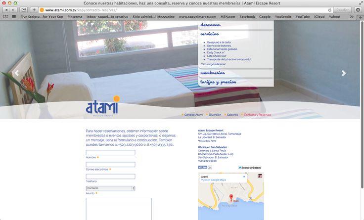 website atami escape resort, contáctanos, 2014. ®raquel marón estudio creativo