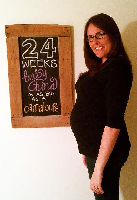 24 Weeks Baby Bump Chalkboard