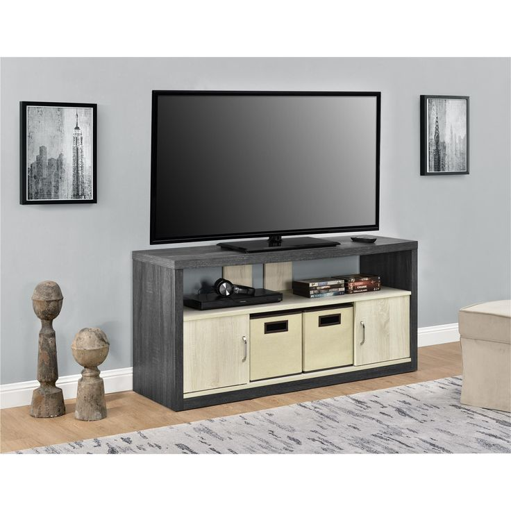 Ameriwood Home Winlen 50-inch TV Stand with 2 Fabric Bins (TV Stand with 2 bins, two-toned), Brown