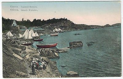 Boys-Fishing-at-Bolshoi-Fontan-Odessa-Ukraine-1910s-handpainted-card
