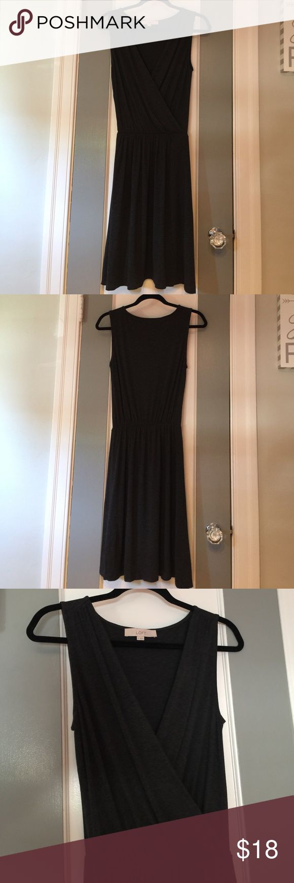 Dark Heather Gray Loft Dress Worn once or twice but slightly too big for me. Would fit someone better in size Small, even Medium. Super comfy material. Good for causal or dress up for work. LOFT Dresses Midi