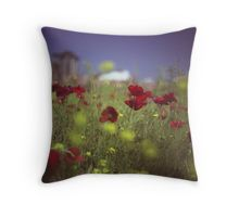 Red wild flowers poppies on hot summer day in urban city wasteland Hasselblad square medium format film analogue photo Throw Pillow