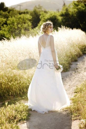 Abiti da Sposa Premaman-chiffon senza maniche collo a V impero abiti da sposa premaman