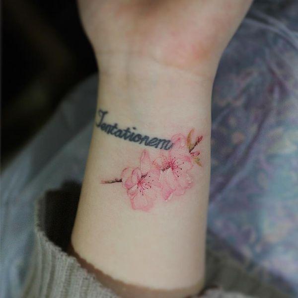 40 melhores imagens de tattoo no pinterest tatuagens for Cherry blossom tattoo wrist