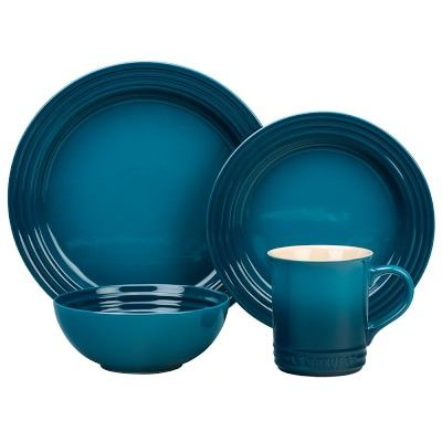 """Le Creuset 10 1/2"""" Dinner Plate 16-Piece Place Setting with Cereal Bowl, Teal"""
