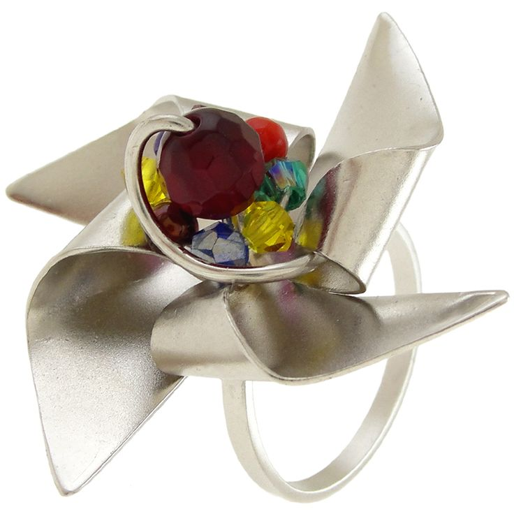 Handmade rhodium plated sterling silver ring with colorful