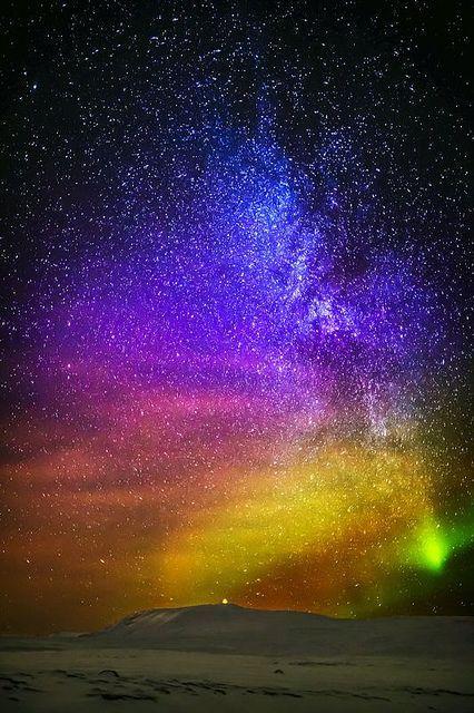 Incredible Photo of our Universe, Aurora Borealis, Milky Way, endless stars, Iceland