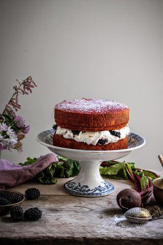 lily vanillis beetroot cake with blackberry honey creme fraiche