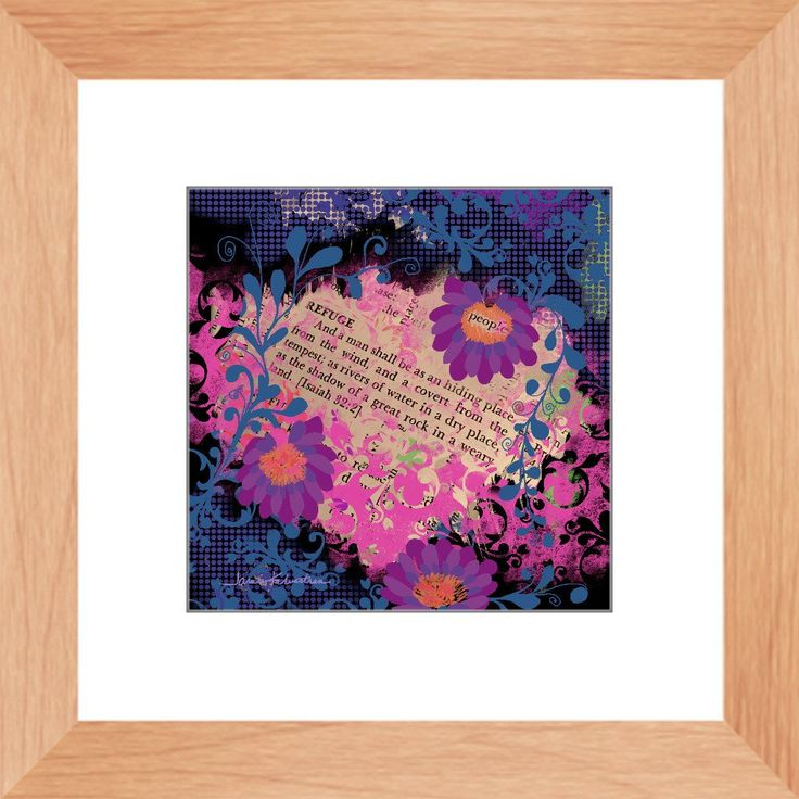 """Jamie Kalvestran's framed mixed media print """"Refuge"""". Inspired by the Bible quote Isaiah 32:2. Cheerfully rendered and perfect gift for any occasion! This is a"""
