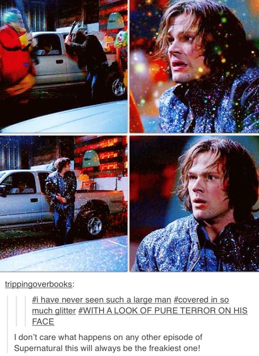 "Sam's face though 7x14 Plucky Pennywhistle's Magical Menagerie #Supernatural #SPNS7 <<< ""If it bleeds you can kill it"""