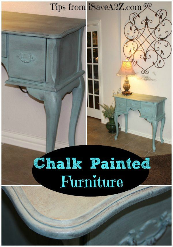 Chalk painted side table!  Homemade chalk paint similar to Annie Sloan technique and Duck Egg Blue color!  #DIY #Homemade #Frugalproject