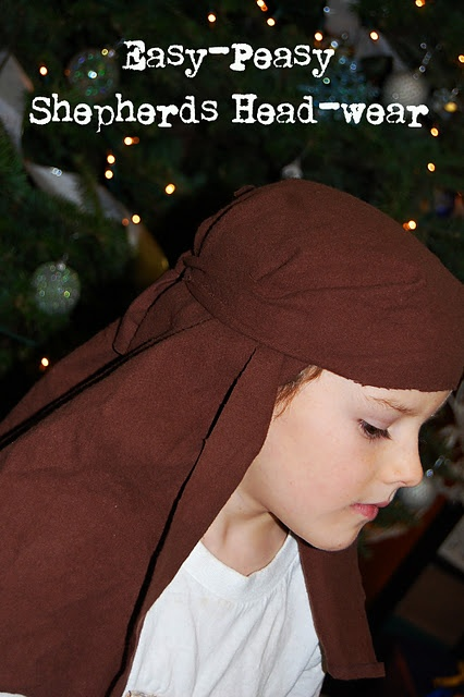 Pillow case or simple fabric square shepherd head-wear.  Simple, no sewing, 2 minute costume.