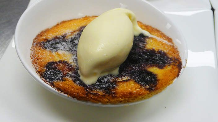 Blackcurrant and almond clafoutis recipe : SBS Food
