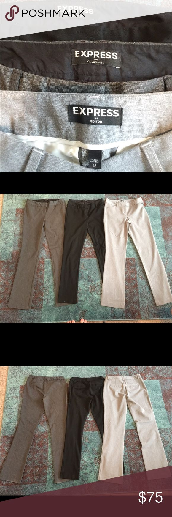 3 Pairs of Express Editor Pants Slightly worn Express pants size 2R. Some wear on the bottom of pant legs on dark gray pair. (Shown in picture) All low rise. Black pair is slim leg, both gray pairs are boot cut. Selling all three together. Light gray pair looks lighter in pictures. Last picture is better reference. Express Pants