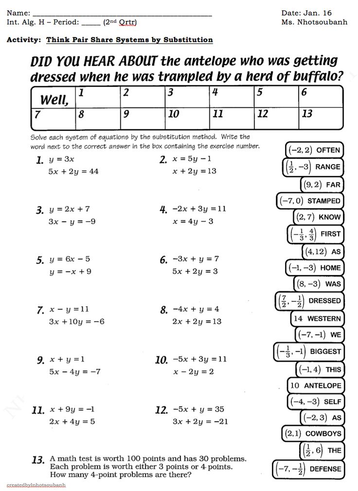Worksheets Solving Systems Of Linear Equations Worksheet 25 best ideas about systems of equations on pinterest linear substitution as well system worksheet