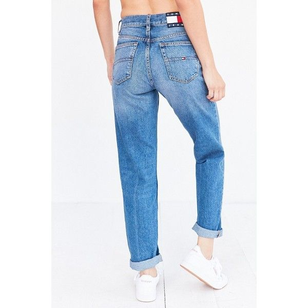 Tommy Jeans For UO 90s Mid-Rise Mom Jean ($139) ❤ liked on Polyvore featuring jeans, denim jeans, 5 pocket jeans, tommy hilfiger jeans, vintage denim jeans and faded jeans