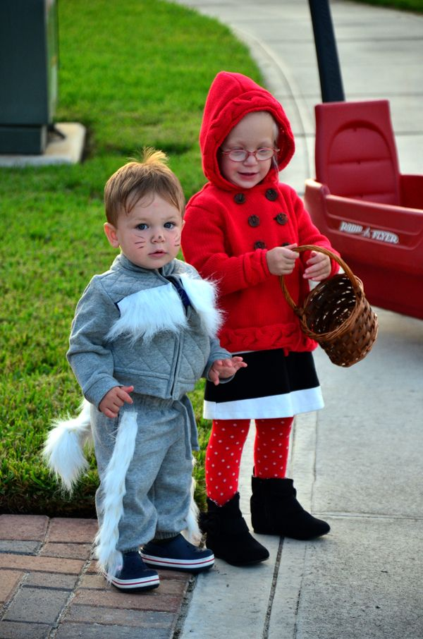 DIY childrens Halloween costume - little red riding hood and the big bad wolf. All clothing from old navy. Fur and basket from michaels.