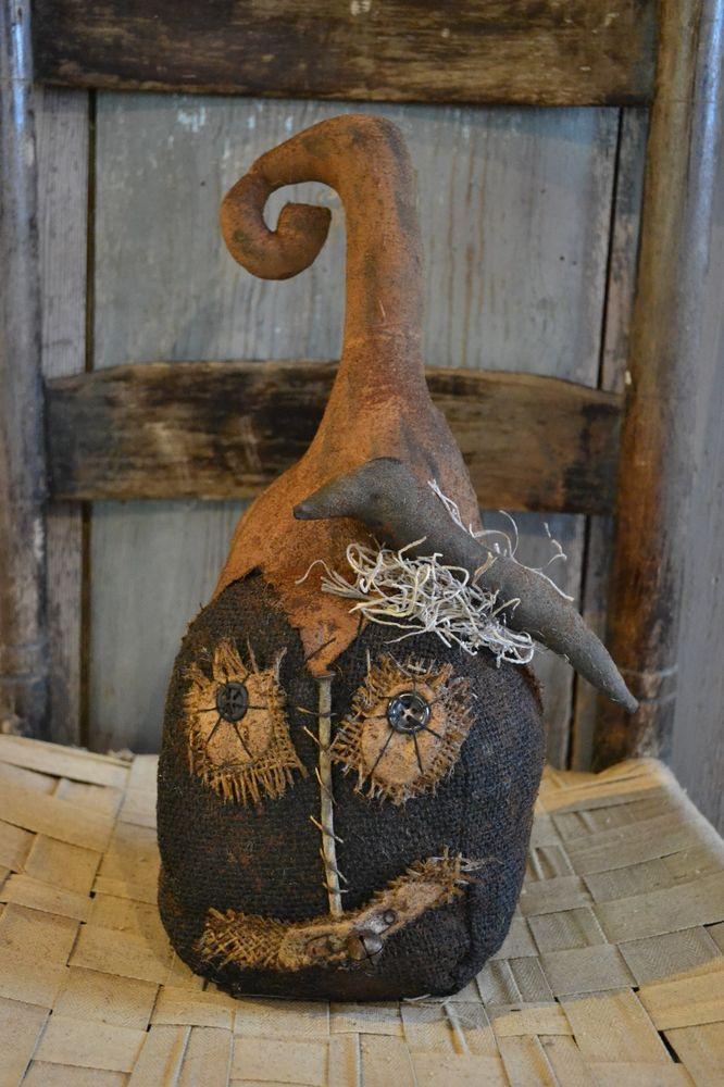 Extreme Primitive Fall*Black BURLAP Jack O Lantern*Country Farmhouse*Halloween #NaivePrimitive #HandmadebyME