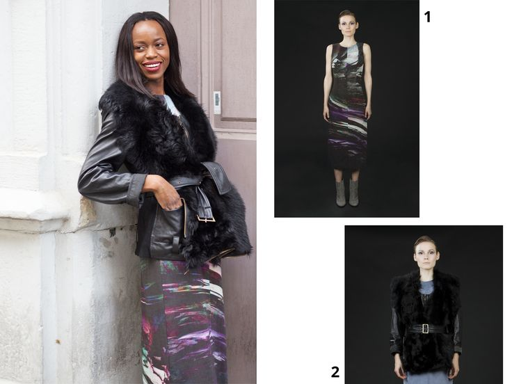 Get the look from Anothamista: 1. Sleeveless Dress by Uneins available at http://shop.anothamista.com/product/bea-dress 2. Leather and Fur Jacket by Uneins available at  http://shop.anothamista.com/product/birk-jacket