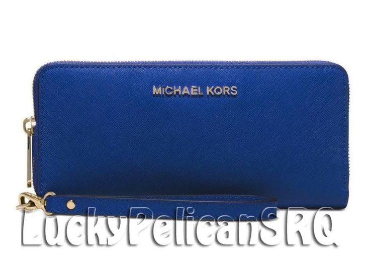NWT Michael Kors Jet Set Travel Continental Wristlet Electric Blue Wallet $158 #MichaelKors #Wristlet