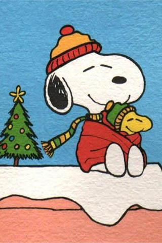 Snoopy Wrapped In A Blanket and Wearing Scarf and Winter Hat With Woodstock In Blanket With Christmas Tree In The Background