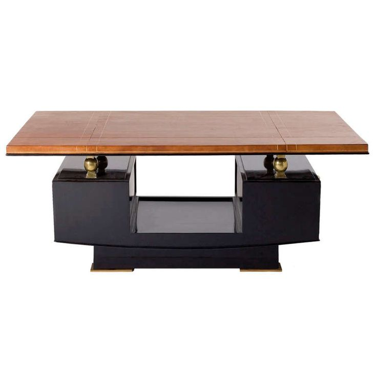 Fine Leather Top Art Deco Coffee Table By Maxime Old