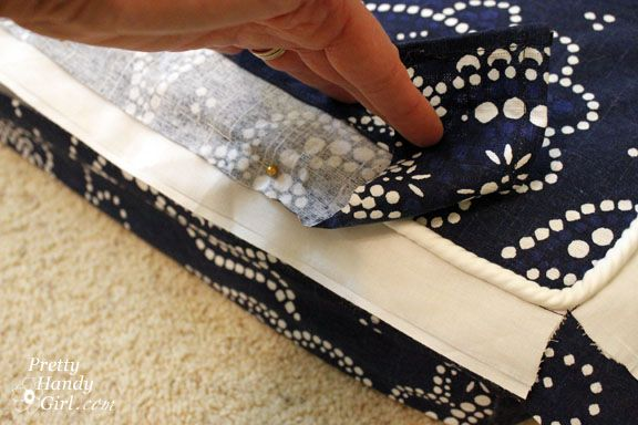 Sewing instructions for Bench Cushion & cover.  Think: (make 2 with velcro closure on end for quick throw in washer)
