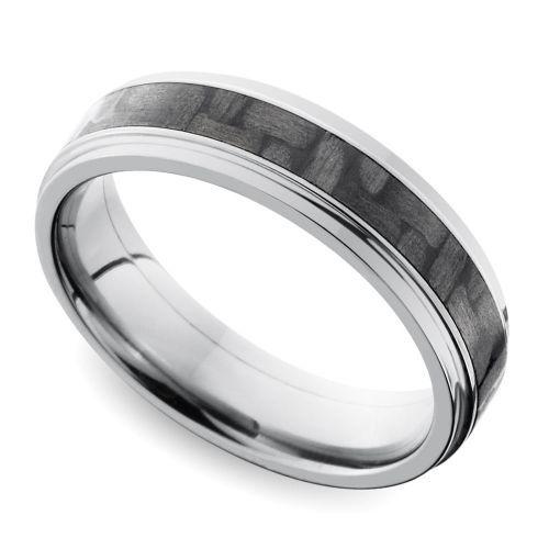 Spectacular Step Edge Carbon Fiber Inlay Men us Wedding Ring in Titanium Image