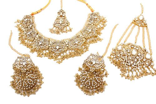 42b2d56cd Champagne Gold Silver Lightweight Indian Asian Pakistani Bridal Necklace  Jewellery Jewelry Set