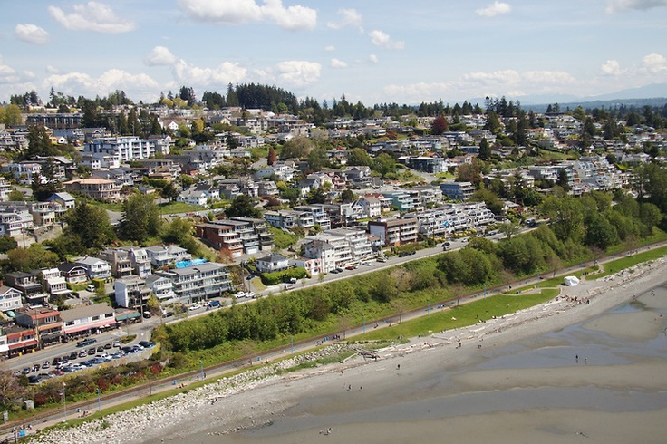 Gorgeous #WhiteRock Aerial Photo - OCEAN VIEWS from the Hillside Home above The White Rock & Beach