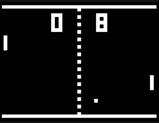 Pong, can you believe this used to entertain us for hours?  Boy have video games come a long way!