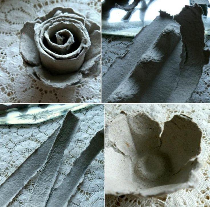 Basteln Sie einfache Rosen aus Eierschachteln