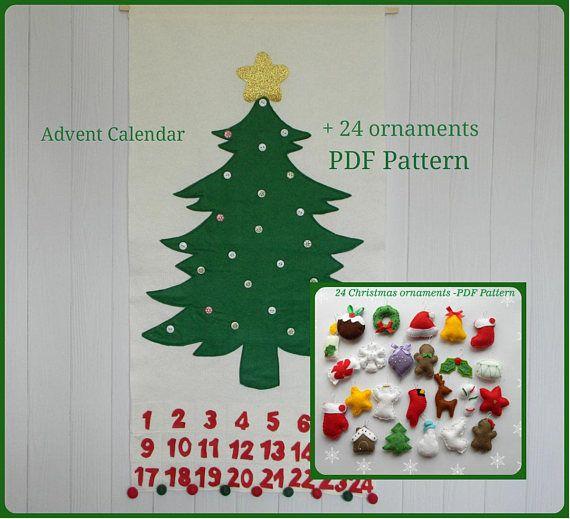 Pdf Pattern Christmas Tree Advent Calendar 24 Christmas Etsy Christmas Tree Advent Calendar Christmas Advent Calendar Diy Diy Advent Calendar