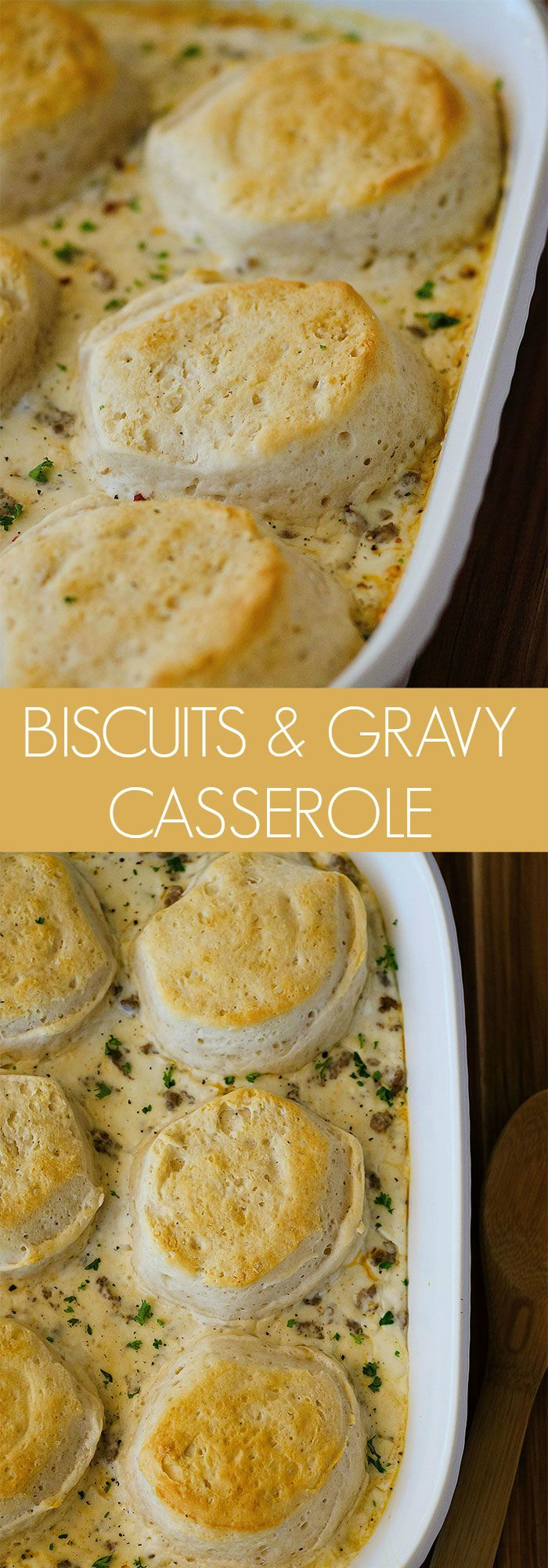 Biscuits and Gravy Casserole _ Flaky biscuits puff up and get golden over the sausage & gravy. It is amazing! There is a secret ingredient in this gravy that makes it extra creamy & so yummy. This casserole would be perfect to serve for a brunch party or for guests on the weekend!