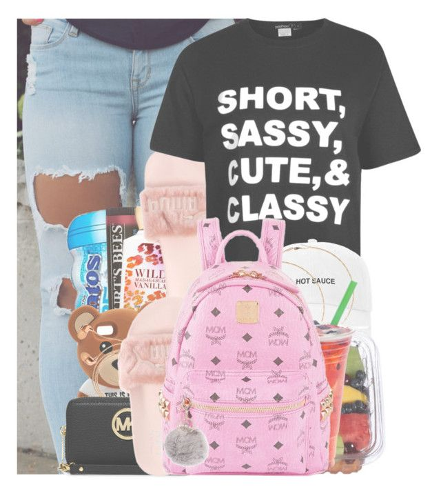 """""""Untitled #143"""" by w-on-der-lan-d ❤ liked on Polyvore featuring Burt's Bees, Boohoo, Forever 21, Moschino, Happy Plugs, MICHAEL Michael Kors, MCM, Armitage Avenue, casual and chill"""