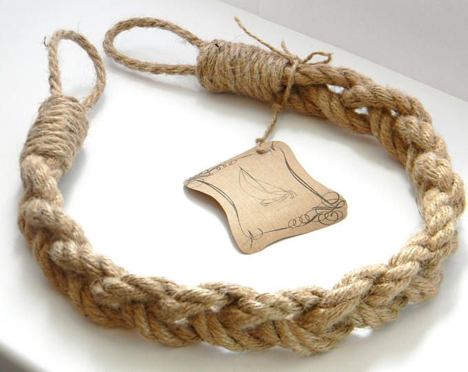 Jute Rope Curtain Tiebacks-Chunky Braided-Pigtail of three ropes