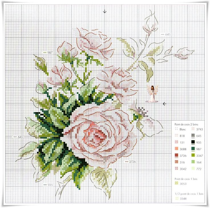 rosa ponto cruz cross stitch rose