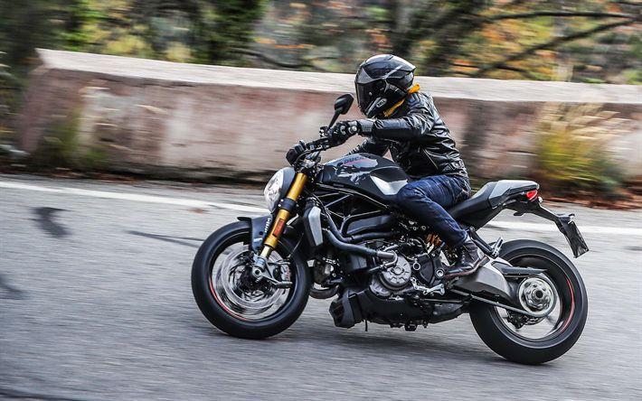 Descargar fondos de pantalla Ducati Monster 1200, 2017 motos, el piloto, carretera, italiano de motocicletas, Ducati