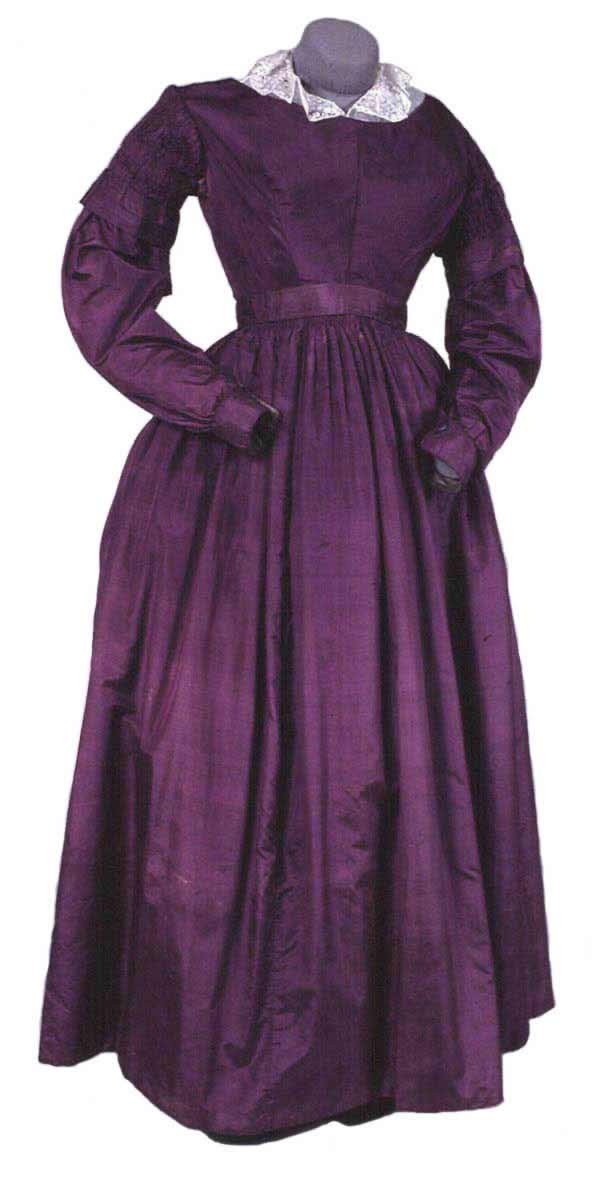 Dress: ca. 1837, English, silk dress with a low neck, fitted bodice and high waistline, finished band of pleating, lower part of sleeve falls over elbow and is finished with a fitted cuff, cuffs, neck, shoulders, sleeves and main bodice seams piped.