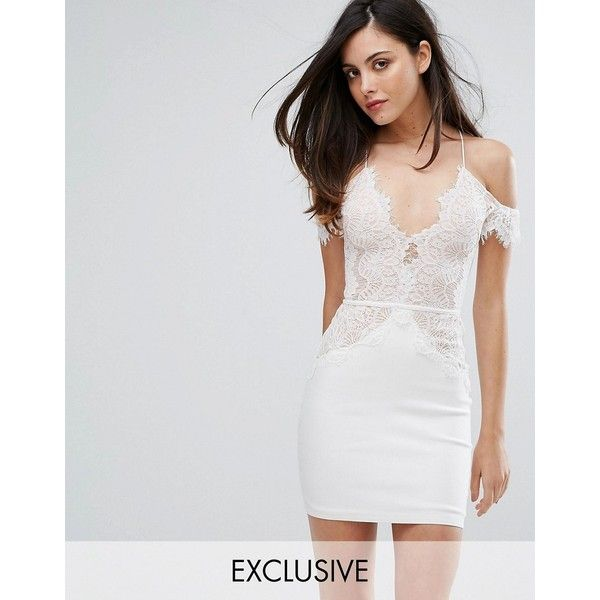 Rare London Off Shoulder Mini Bodycon Dress In Scallop Lace (103 AUD) ❤ liked on Polyvore featuring dresses, white, short mini skirts, bodycon mini skirt, white lace cocktail dress, white pleated mini skirt and lace bodycon dress