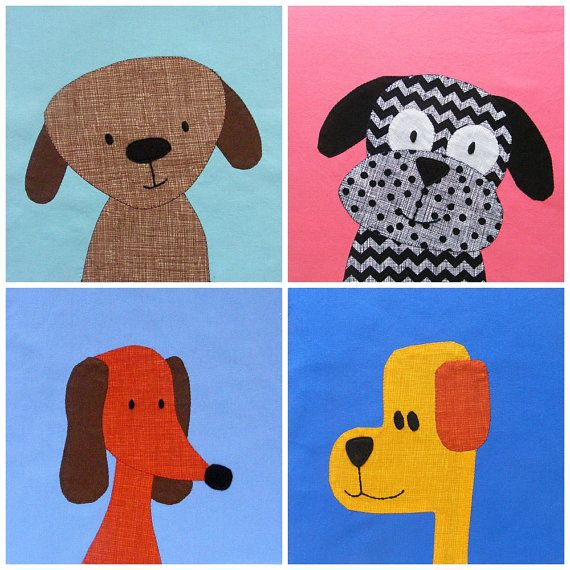 Puppy Dog Quilt Applique Pattern PDF by ShinyHappyWorld on Etsy