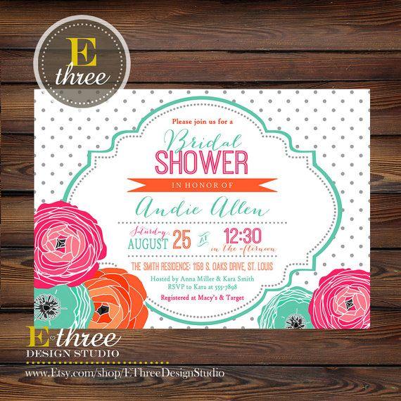 Bridal Shower Invitation - Hot Pink, Teal, Orange, Gray - Flowers and Polka Dots…