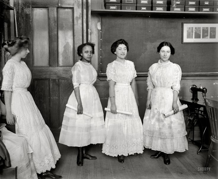 "New York circa 1909. ""High school graduates wearing dollar dresses."" Note plunging neckline, scandalously exposed ankles and elbows."